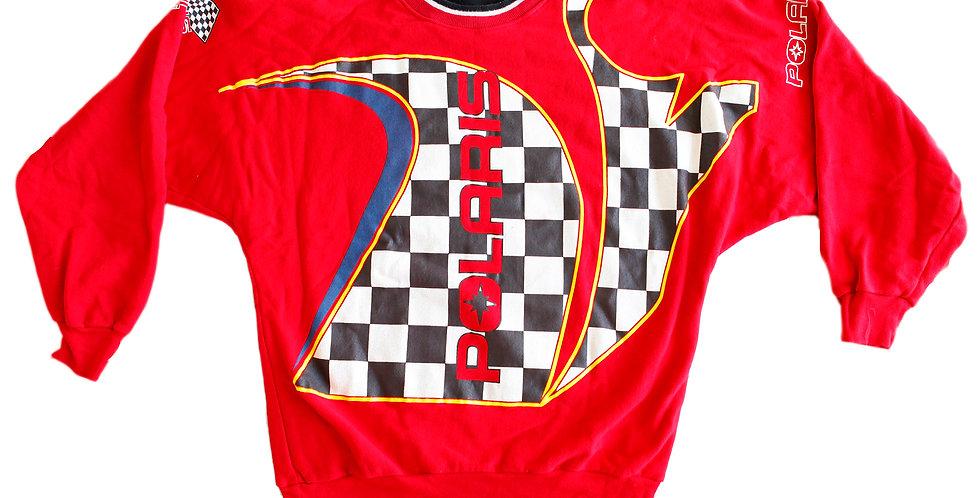 Rare 90s Polaris Snowmobile Racing Red Checkered Crewneck Sweatshirt