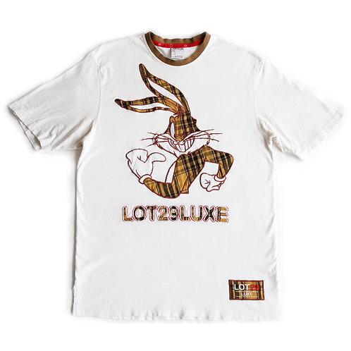 Lot 29 Luxe Looney Tunes Bugs Bunny Plaid Embroidered White Brown Tan Short Tee / T-Shirt - L