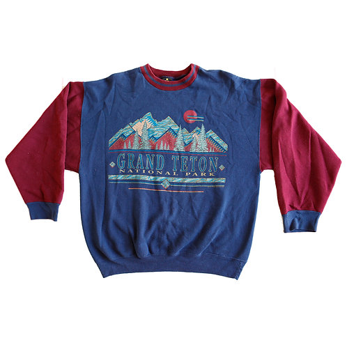 Vintage 1980s Grand Teton, WY National Park Blue & Maroon  Graphic Colorblock Pullover Sweater