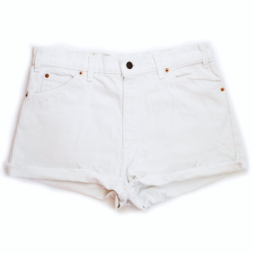 Vintage Levi's White High Rise Denim Cuffed Cut Offs Shorts - 34/35