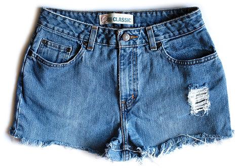 Vintage Faded Glory Medium Blue Wash High Waisted / Rise Distressed Cut Offs Denim / Jean Shorts