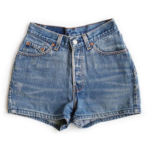 Vintage Levi's 501 Button Fly High Rise Denim Shorts - 24