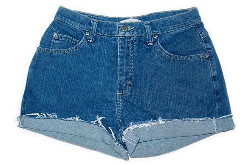 Vintage Lee Medium/Dark Wash High Rise Cuffed Shorts - Sz 29/30