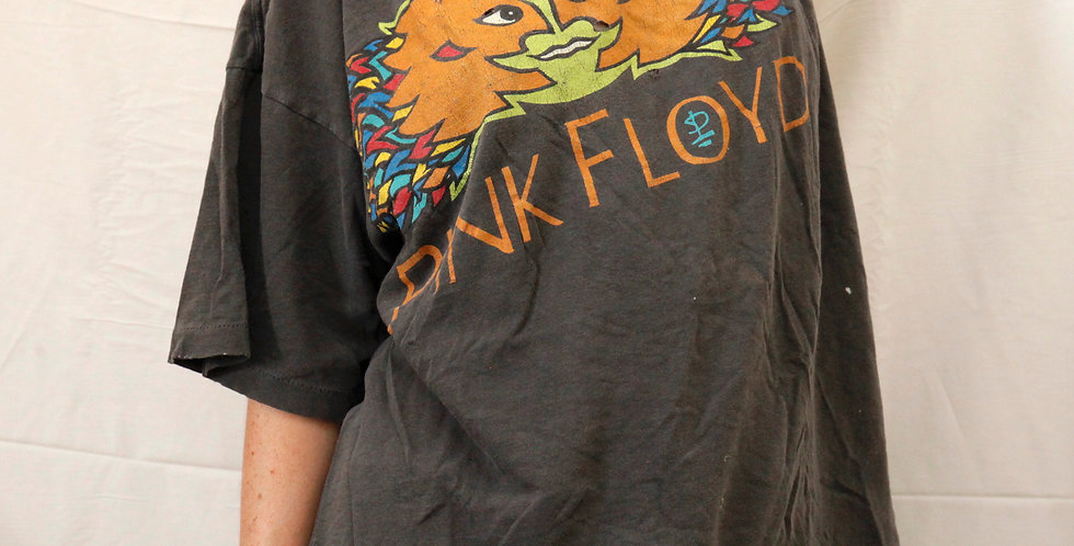 Vintage 1994 Pink Floyd Division Bell North American Tour Brockum Band Short Sleeved Gray / Faded Black Tee / T-Shirt - XL