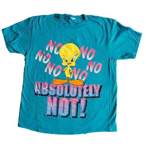 "Vintage 90s Tweety Bird ""NO Absolutely NOT!"" Teal Graphic T-Shirt - L"