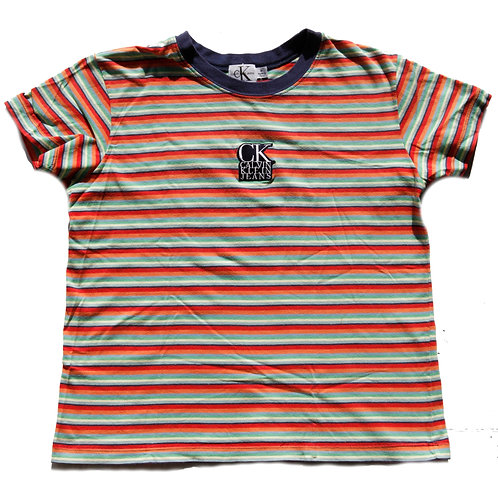Vintage 90s Calvin Klein Striped Patch Baby Tee - M