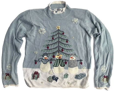 Vintage Ugly Christmas Sweater Party Snowmen Pullover - S