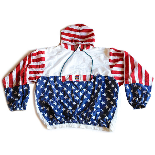 Vintage 80s USA Flag Stars & Stripes Red White & Blue Windbreaker Pullover Jacket