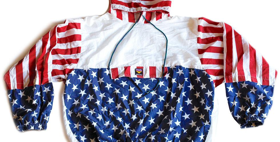 Vintage 80s USA Flag Stars & Stripes Red White & Blue Windbreaker Pullover Jacket