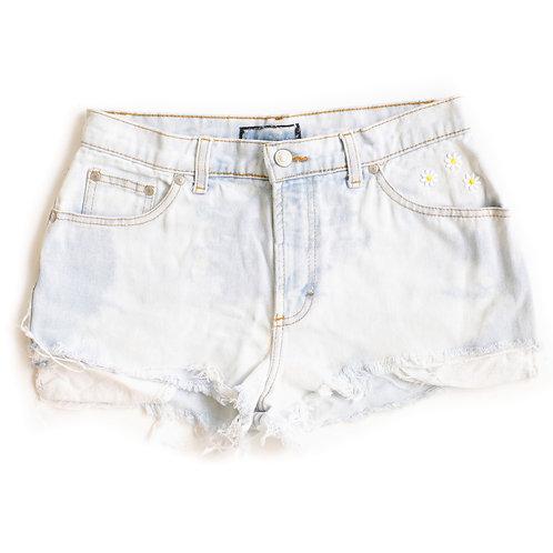Vintage Acid Wash Flower Patches Cut Off Denim Shorts - 27/28