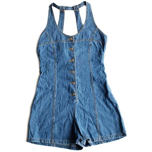 Vintage Revolt Blue Jean Denim Shorts Overalls Button-Down Shortalls Romper