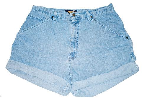 Vintage Light/Medium Blue Wash High Rise Cuffed Shorts - Sz 33