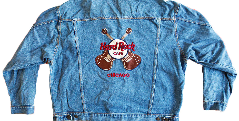 Vintage 90s Hard Rock Cafe Chicago Denim Jacket