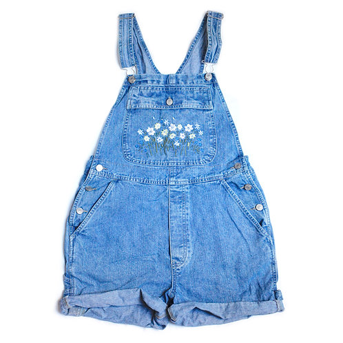 Vintage 90s Cherokee Embroidered Floral Flowers Carpenter Blue Denim / Jean Shortalls / Overalls / Cuffed Shorts - S