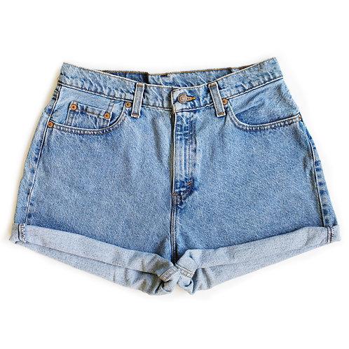 Vintage Levi's Strauss Light/MediumBlue Wash High Waisted Rise Cuffed Denim Jean Shorts