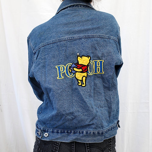 Vintage Disney 90s Embroidered Winnie the Pooh Bear Spellout Collared Blue Denim / Jean Button Up Jacket