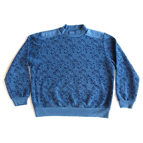 Vintage 1980s Floral Flowers Textured Print Navy Blue Pullover Mock Neck Pullover Sweater / Sweatshirt - L/XL