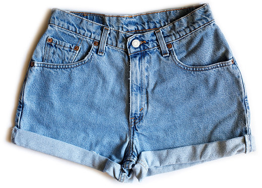 Vintage Levi's Medium Wash High Rise Cuffed Denim Shorts – 26/27