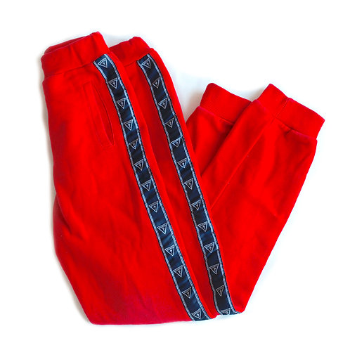 Vintage Y2k Red GUESS L.A. Side Taping Tape Logo Fitted Joggers Sweatpants Lounge Sports Ankle Pants - XXS/XS