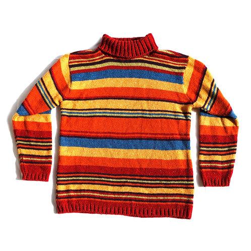 Vintage 90s Rainbow Striped Turtleneck Sweater - S