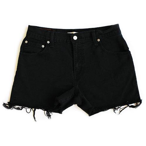 Vintage Levi's Black High Rise Denim Cut Off Shorts - 29/30