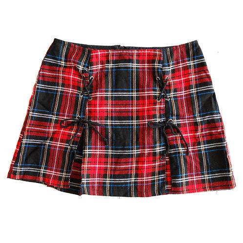 Y2k Tartan Plaid Pleated Double Tie Up Skirt - XL