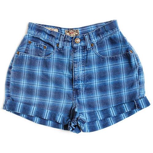 Vintage Express Blue Plaid High Rise Shorts - 24