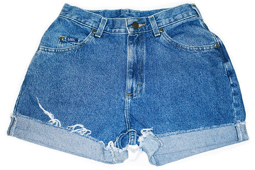 Vintage Lee Medium Blue Wash High Rise Cut Off Cuffed Shorts - Sz 26