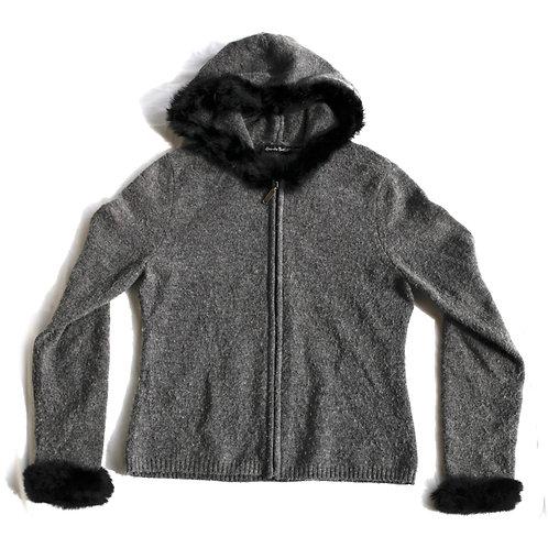 Vintage 90s/Y2k Alexandra Bartlett Gray and Black Fuzzy Trim FullZip Hooded Knit Sweater / Sweatshirt - M