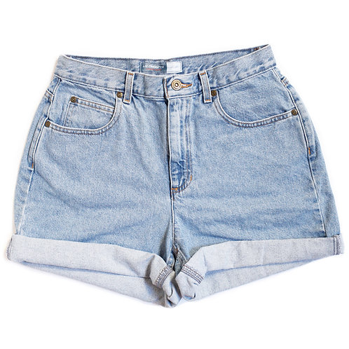Vintage Light Wash High Rise Cuffed Shorts - 28/29