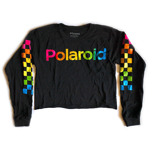 Polaroid Rainbow Logo Checkered Black Long Sleeve Cut Cropped Tee / T-shirt / Crop Top - S