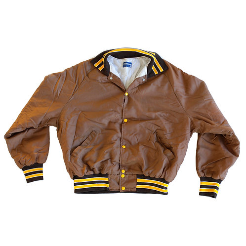 Vintage 1970s Varsity Striped Brown & Yellow Button Up Quilted InsulatedJacket