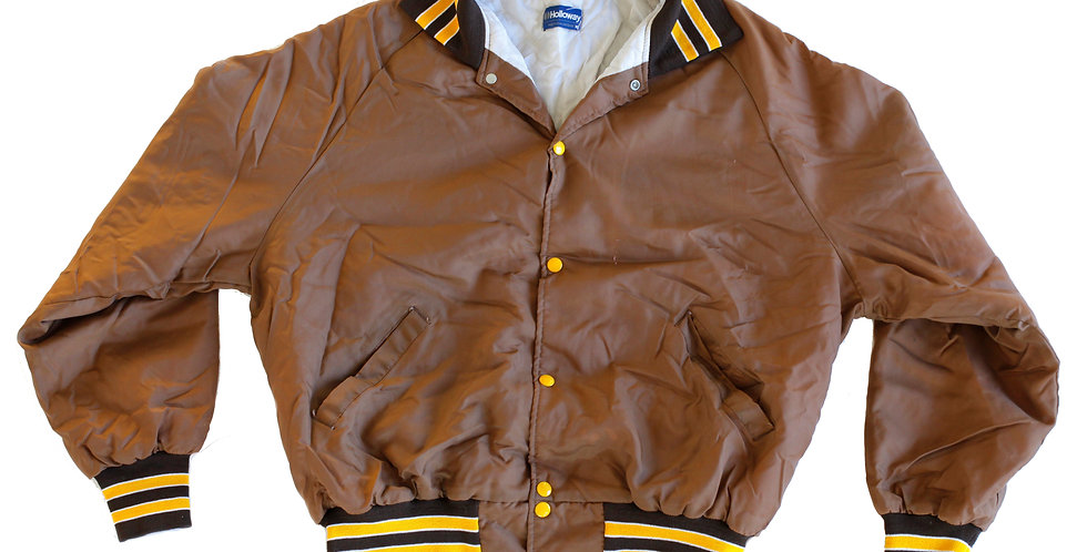 Vintage 1970s Varsity Striped Brown & Yellow Button Up Quilted Insulated Jacket