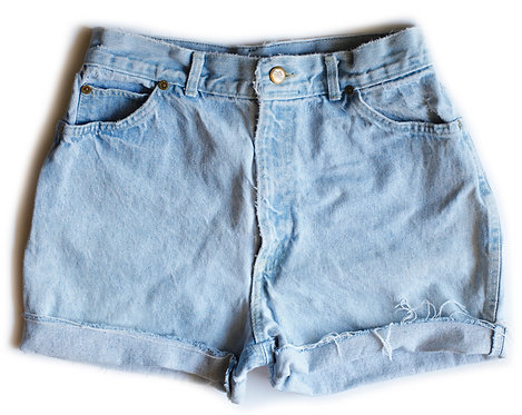Vintage Chic Light Blue Wash High Waisted / Rise Cuffed Denim / Jean Shorts