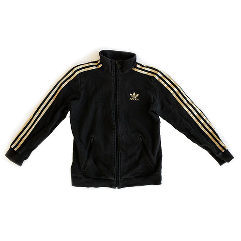 Adidas Black & Gold Trefoil Knitted Full Zip Track Jacket