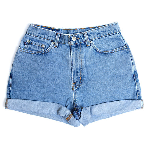 Vintage Ralph Lauren Wash High Rise Denim Cuffed Shorts - 26/27