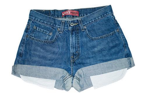 Vintage Levi's Medium/Dark Wash Mid-High Rise Cuffed Shorts - Sz 27