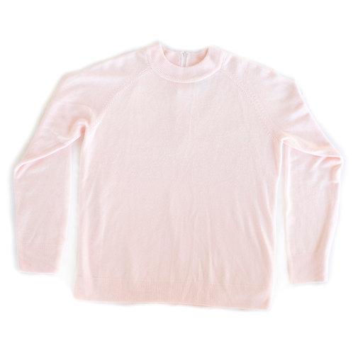 Vintage 90s Nouveaux Petite Light Baby Pink Faux Cashmere Pullover Mock Neck Sweater- Medium