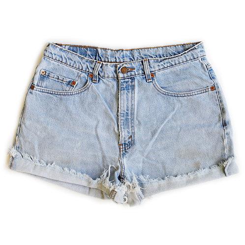 Vintage Levi's Strauss Light Blue Wash High Waisted Rise Cuffed Cut Offs Denim Jean Shorts