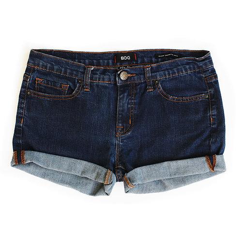 BDG Dark Wash Mid-High Rise Denim Cuffed Shorts - 30