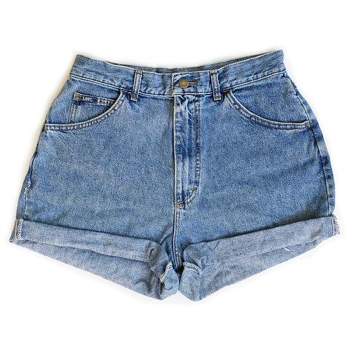 Vintage Lee Medium Wash High Rise Denim Cuffed Shorts - 30