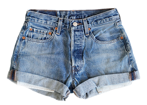 Vintage Levi's Medium Blue Wash High Rise Cuffed Shorts - Sz 24