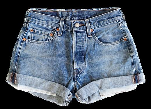 Vintage Levi's Medium Blue Wash High Rise Cuffed Shorts - Sz 24
