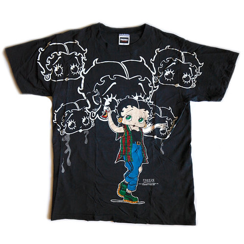 Vintage 1994 Betty Boop Freeze New York, N.Y. Graffiti Graphic Black Tee / T-shirt - L