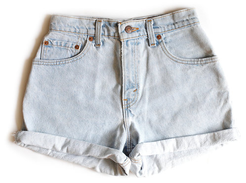 Vintage Levi's Light Blue Wash High Waisted / Rise Cuffed Denim / Jean Shorts
