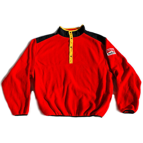 Vintage 90s Marlboro Adventure Team Patch Red Black and Yellow Fleece Half Snap Mock Neck Pullover Sweater / Sweatshirt - XL
