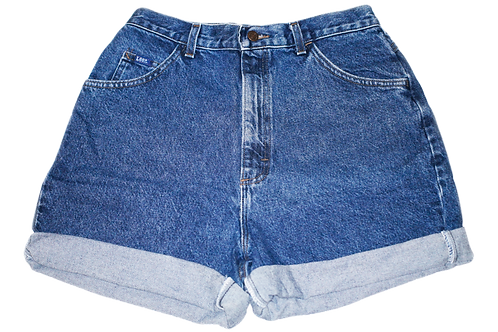 Vintage Lee Dark Wash High Rise Cuffed Shorts - Sz 30/31