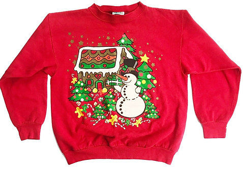 Vintage Ugly Christmas 80's Snowman Sweater Party - XL