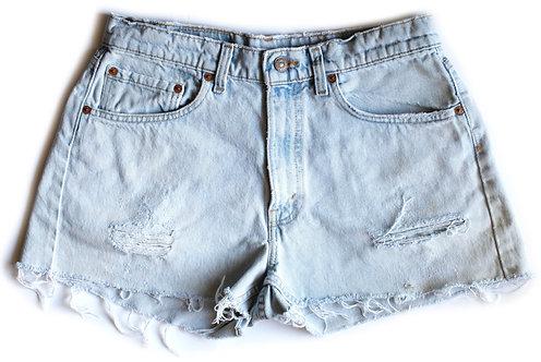 Vintage Levi's Light Blue Wash Distressed High Waisted / Rise Cut Offs Denim / Jean Shorts