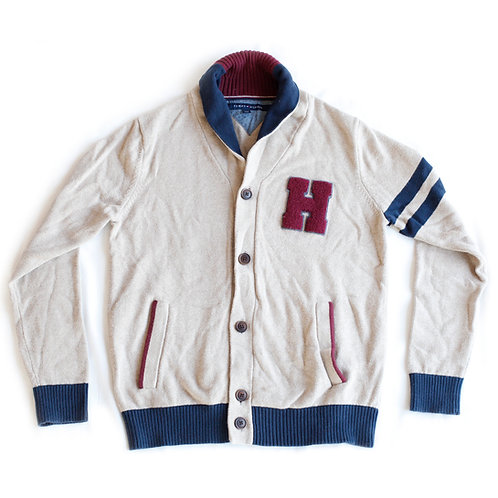 Tommy Hilfiger Beige Maroon Red Blue Varsity Letterman Cardigan Button Up Shawl Cowl Neck Sweater w/ Pockets - L